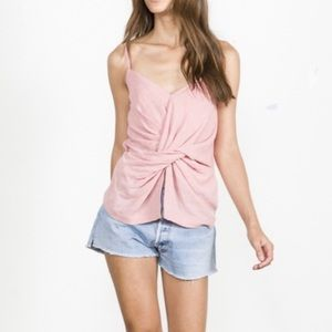 EDUN Melange wool gauze twist tank pink size 2